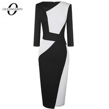 Vintage Frauen Patchwork Asymmetrische Kragen Elegante Casual Arbeit Büro Mantel Dünnes Kleid EB517