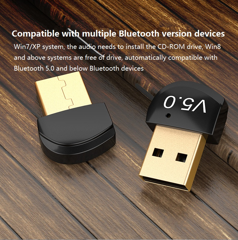 USB Bluetooth Dongle Adapter 5.0 for PC Computer Speaker Wireless Mouse Bluetooth Music Audio Receiver Transmitter image