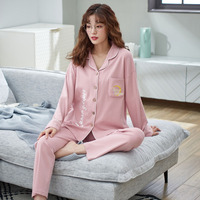 100% cotton Pajamas Set Long Sleeve Sleepwear Womens Button Down Nightwear Soft Pj Lounge Sets