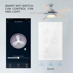 Image 1 - WiFi חכם תקרת אוהד אור קיר מתג חיים Tuya APP מרחוק שונים בקרת מהירות Interruptor תואם עבור Alexa Google בית
