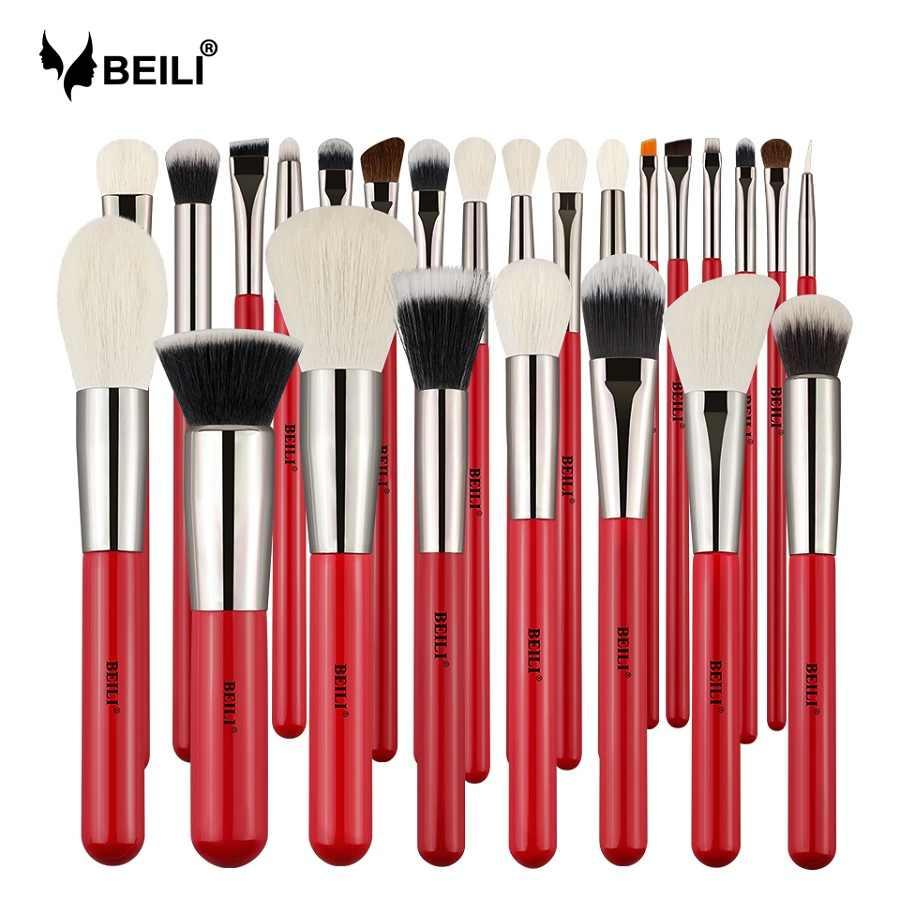 Beili Alam Merah Kambing Kuda Rambut Makeup Brushes Bubuk Foundation Blending Wing Liner Profesional 25 Buah Kuas Make Up Set