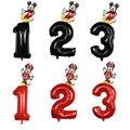 Комплект из 2 предметов с изображением Микки Мауса и Минни Маус воздушный шарик из фольги в форме 1st на день рождения вечерние украшения Дети...