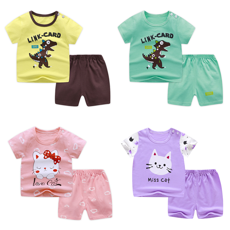 Baby short sleeve suit cotton girls boys summer clothes toddler sets children kids T-shirt 11.11 cheap stuff dinosaur for 0-6Y(China)