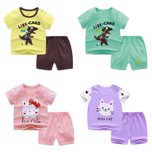 Baby short sleeve suit cotton girls boys summer clothes toddler sets children kids T-shirt 11.11 cheap stuff dinosaur for 0-6Y