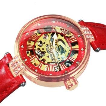 FORSINING New Fashion Vintage Mechanical Women Watches Top Brand Luxury Gold Skeleton Leather Strap Ladies Watch часы женские 1