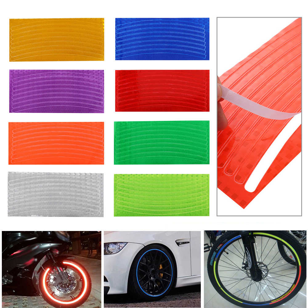 Outdoor Auto Motor Fiets Reflector Fluorescerende Sticker Velg Reflecterende Stickers Decal Accessoires