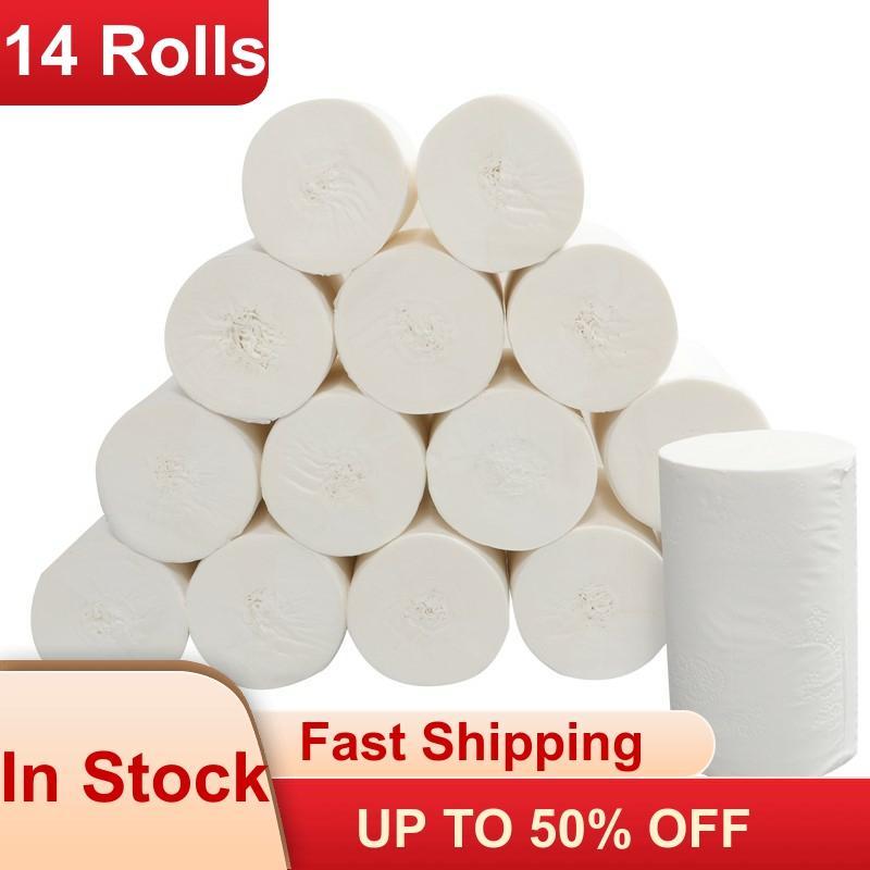 14 Rolls Toilet Roll Paper Bathroom Paper Towel 4 Layers Virgin Pulp Paper Roll Towels Car Paper Towels