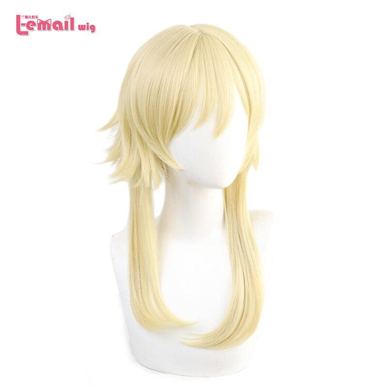 Perruque l-email jeu Genshin Impact Ying Cosplay perruques voyageur Kong Cosplay Blonde tressée perruques résistant à la chaleur synthétique cheveux Cos
