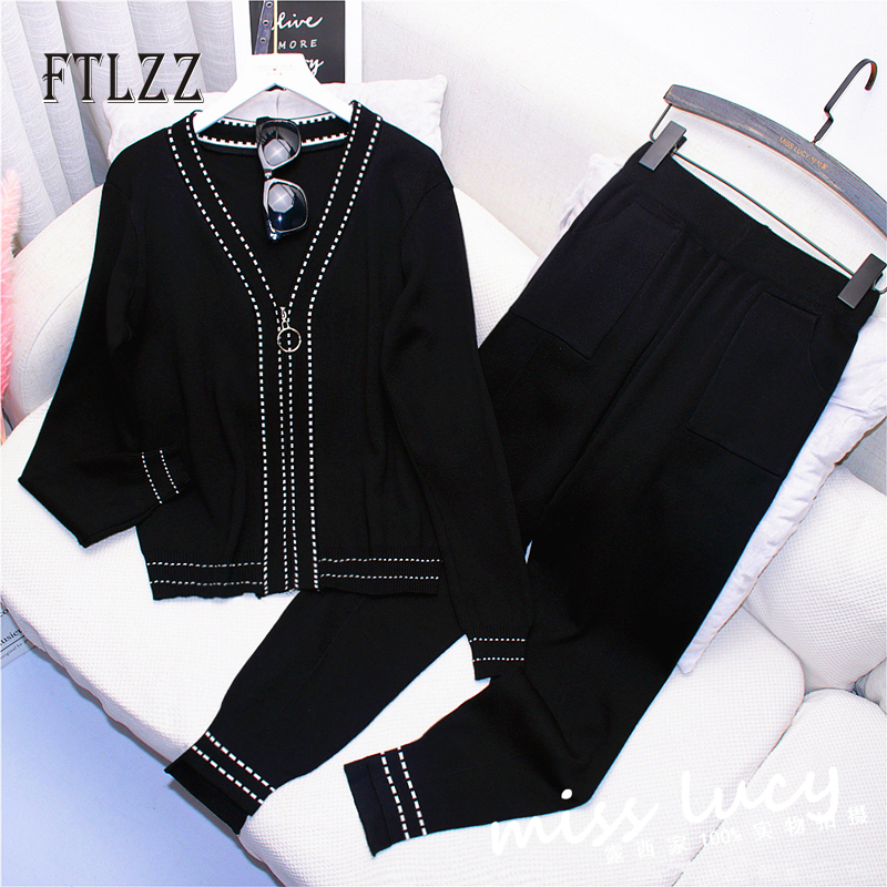 Fashion Woman Sweater Two Piece Set 2020 New Spring Atuumn Zipper Short Cardigan + Slim Pants Outfit Women Knit Suits Tracksuits