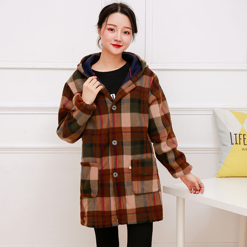 Autumn And Winter Kitchen Long Warm Long Sleeve Women's Adult Plus Velvet Overclothes Work Clothes Middle-aged Women Dress Shear