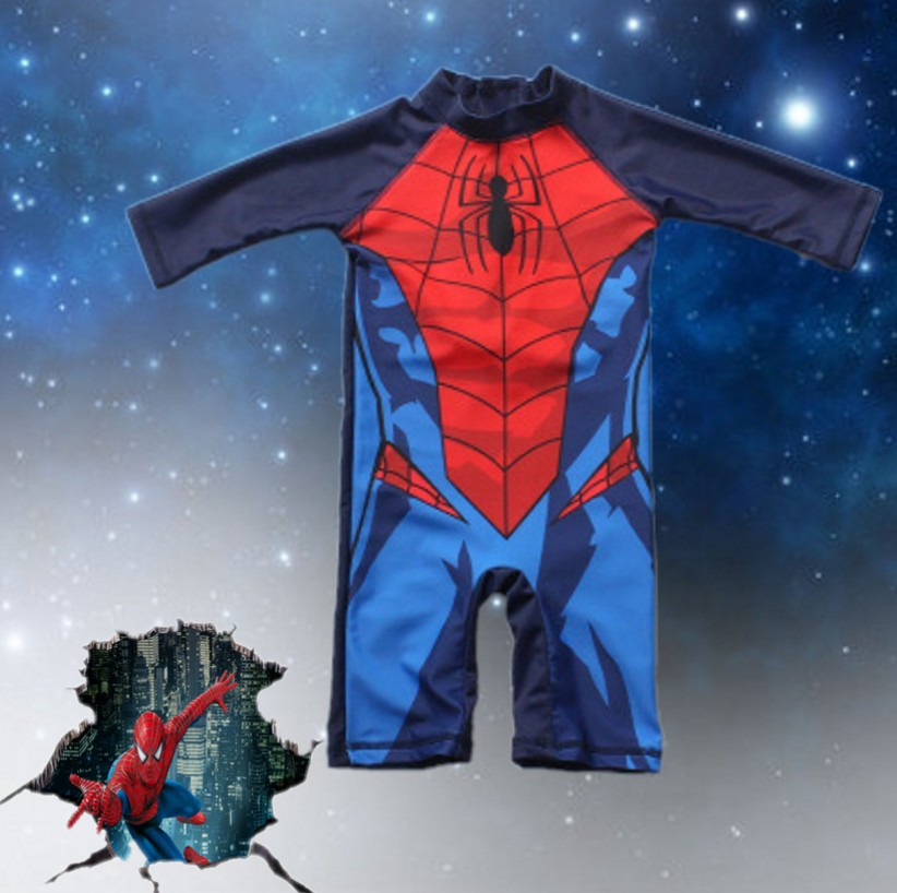 2020 Summer New Superhero Boy's Swimsuit Baby Swimwear Child Bathing Suit One-piece Swimsuit Batman Spiderman Swimwear With Cap
