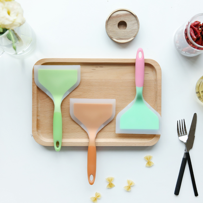 Colorful Silicone Spatulas Beef Meat Egg Kitchen Scrapers Wide Pizza Shovel Non-stick Turners Food Lifters Home Cooking Utensils