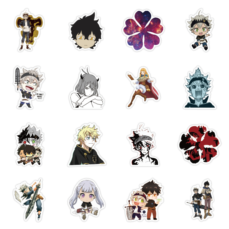 50pcs New Anime Black Clover Quarter Knights Card Stickers DIY Waterproof Scrub Card Sticker Kids Sticker Toys Collection Gift