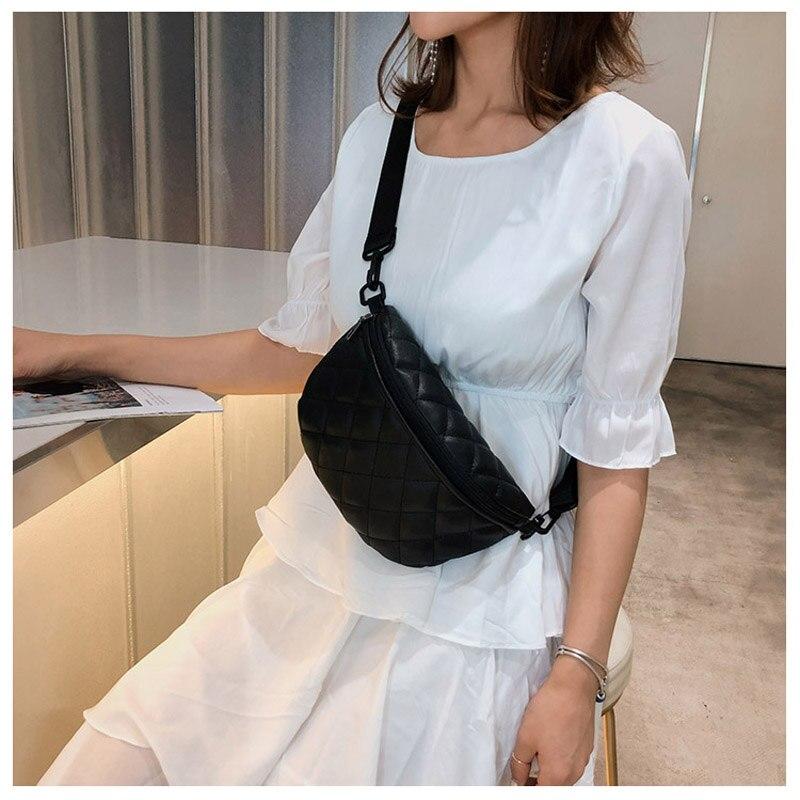 Four-color New Korean Rhombus Belt Bag Contrast Color Messenger Bag Fashion Wild Female Shoulder Bag Ladies Pu Leather Chest Bag