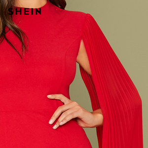 Image 4 - SHEIN Red Solid Pleated Cape Party Bodycon Dress Without Belt Women 2019 Autumn High Waist Cloak Sleeve Sexy Pencil Dresses