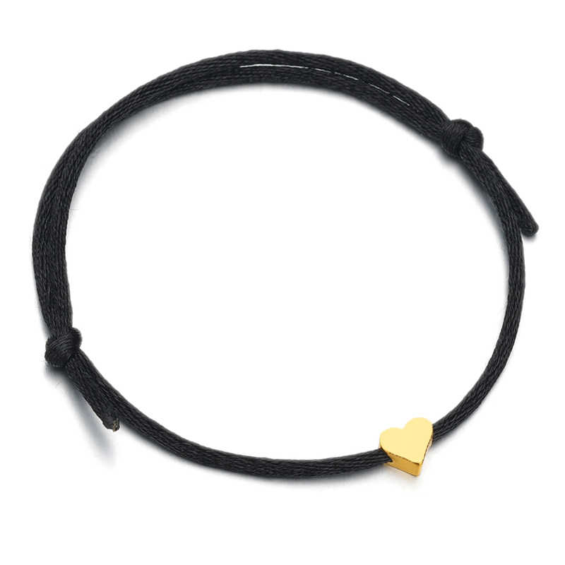 Simple Gold Color Heart Rope Bracelets Handmade Colored Adjustable Couple Bracelets For Women Men Drops Shipping
