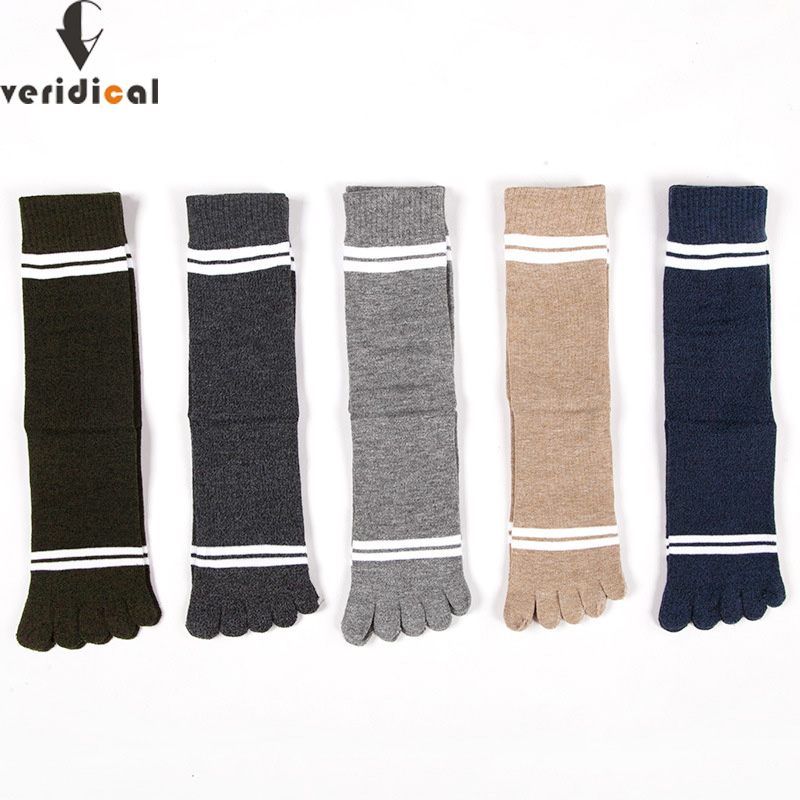 VERIDICAL Large Size Man Socks With Toes Combed Cotton Colorful Five Finger Socks Striped Party Dress Crew Socks 5 Pairs/lot