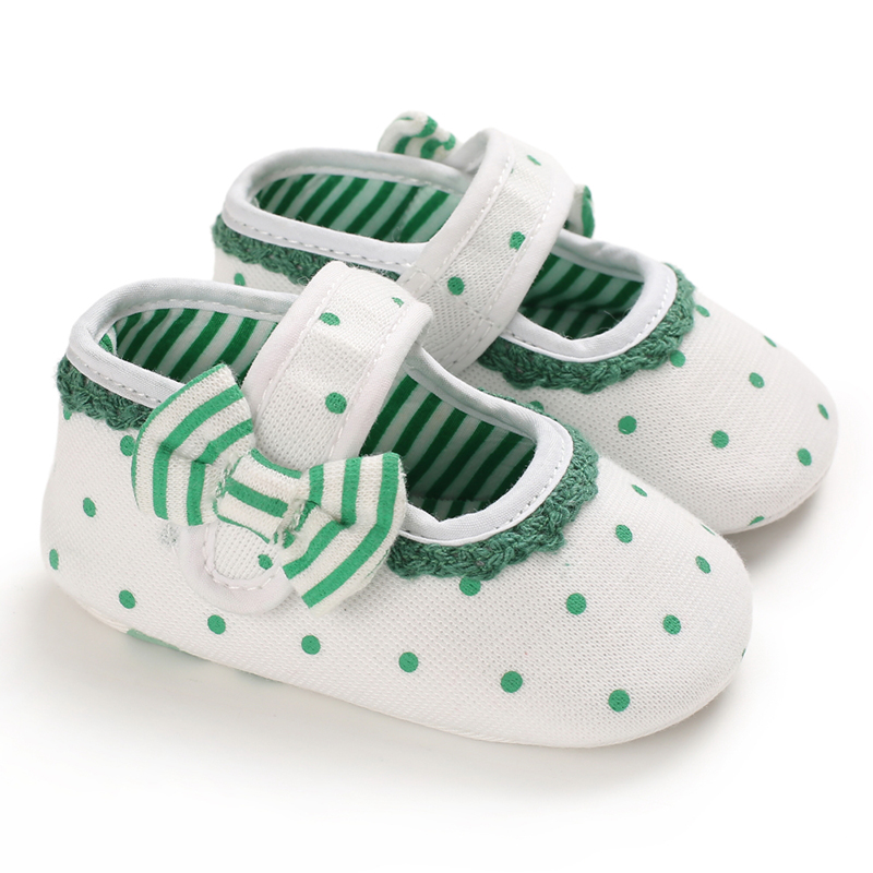 Cotton New Toddler Shoes Baby Girl Shoes Breathable Polka Dot Print Anti-Slip Casual Toddler Soft Soled Walking Shoes X