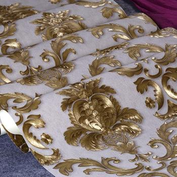 10M PVC Luxury Gold Metallic Textured Damask Wallpaper Roll Home Decor Wall Paper Living Room Bedroom
