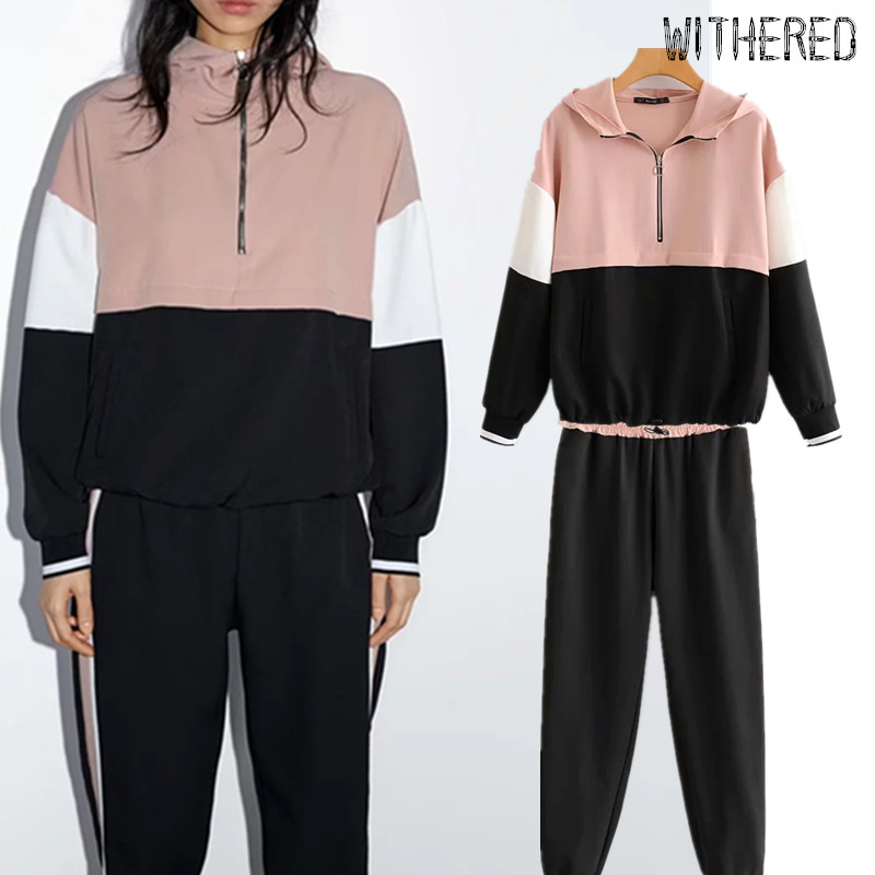 Withered BTS England Color Collision Patchwork Hoodies Women Sweatshirt Pullovers And Side Stripe Harem Pants 2 Piece Set Blazer