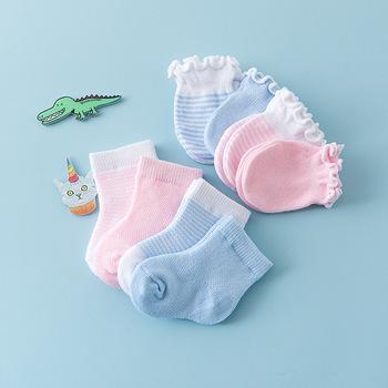 4 Pairs dzieci dzieci dziecko skarpetki dla noworodka rękawice Anti-scratch oddychająca elastyczność ochrona twarzy rękawiczki prezent na przyjęcie bociankowe tanie i dobre opinie Pottycluno COTTON Unisex Na co dzień YYC791 Stałe 2 Pair Gloves 2 Pair Socks Baby Socks Blue Pink newborn socks baby socks newborn