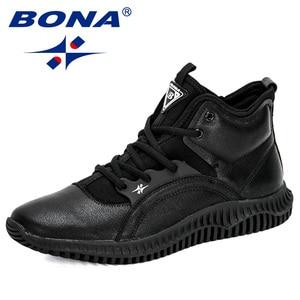 Image 2 - Мужские кроссовки на шнуровке BONA, черные уличные кроссовки с высоким берцем, на плоской подошве, Осень зима 2019