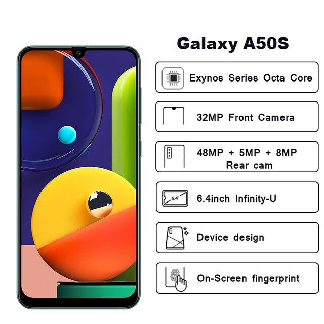 Samsung Galaxy A50s Mobile Phones NFC 6GB 128GB 6.4'' FHD+ Samsung Exynos Octa Core 48MP AI Triple Camera 4000mAh Cellphones 2