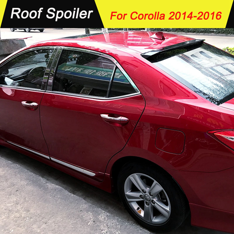 Car Accessories For <font><b>Toyota</b></font> <font><b>Corolla</b></font> 2014 <font><b>2015</b></font> 2016 ABS Roof <font><b>Spoiler</b></font> Primer Color Tail Wing Decoration Rear Roof <font><b>Spoilers</b></font> Wings image