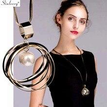 SINLEERY многослойное круглое ожерелье с подвеской с жемчугом в стиле барокко, черная длинная цепочка, массивное ювелирное изделие для женщин My296 SSB