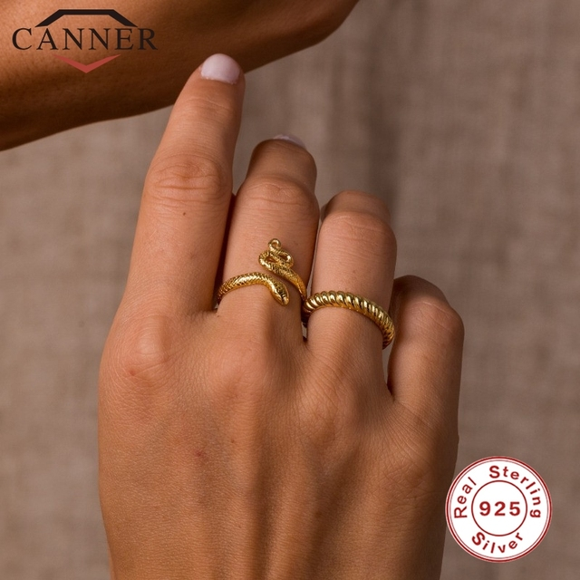 CANNER 925 Sterling Silver Rings for Women Cute Snake Round Opening Ring 925 Silver Wedding Fine Jewelry Minimalist Gift anillos