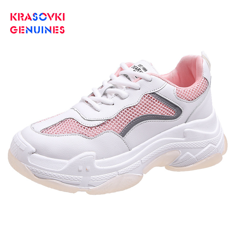 Buy Krasovki Genuines Sneakers Women Autumn Fashion Dropshipping Thick Bottom Round Toe Mixed Colors Cross Tied Causal Women Shoes