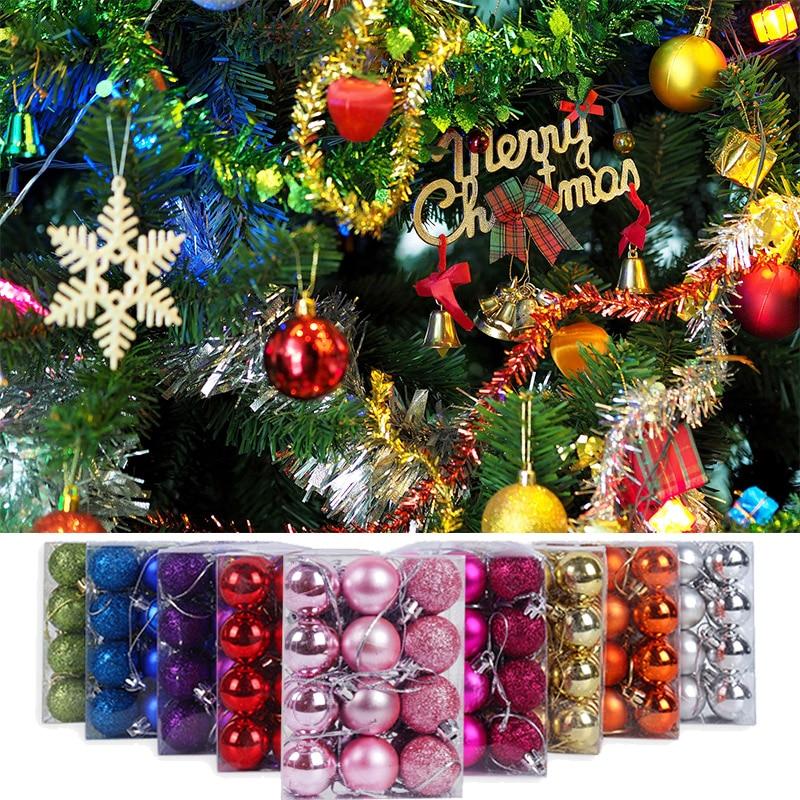 24 szt. Wesołych świąt kolorowe bombki świąteczne świecące ozdoby choinkowe nowe do zawieszenia roku dekoracje świąteczne dla domu