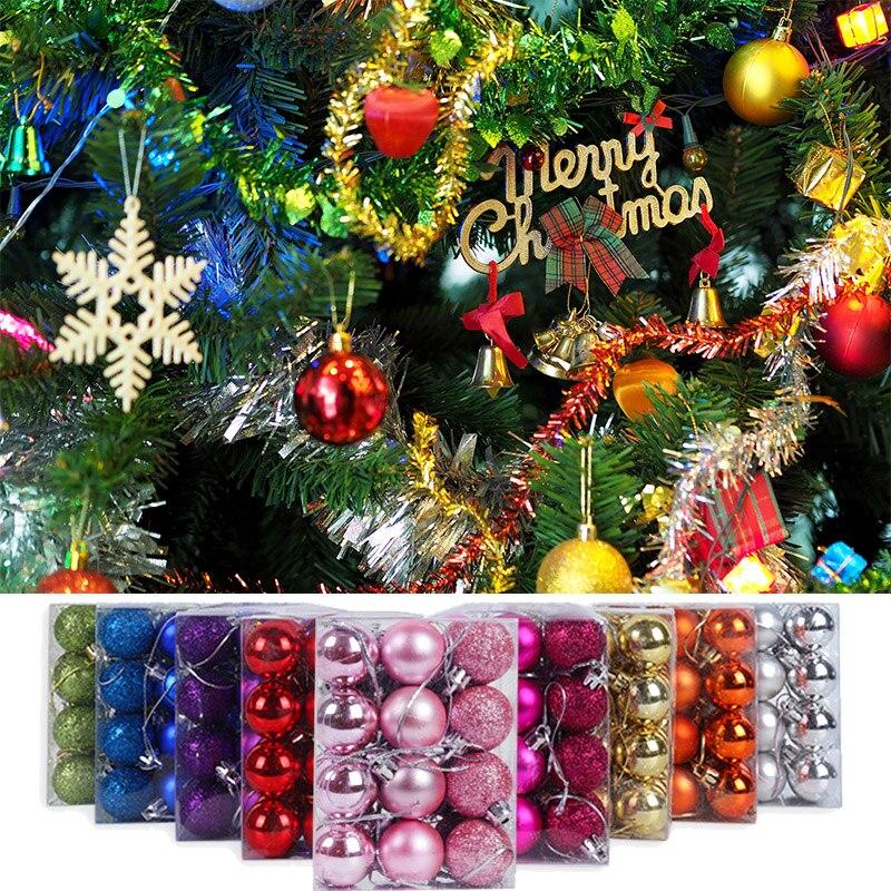 24Pcs Vrolijk Kerstfeest Kleurrijke Kerst Bal Glow Led Kerstboom Ornamenten Opknoping Nieuwe Jaar Kerst Decorationfor Thuis
