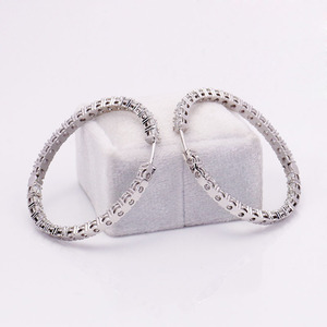 Image 3 - 3mm Round Brilliant H&A Cut EF Color White Moissanite Solid 14K White Gold Hoop Earrings for Women 6CTW 60pcs
