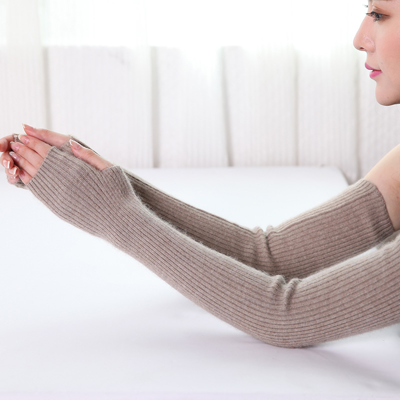 Mink Fingerless Long Arm Warmers Solid Thicken Arm Sleeve Arm Cuff Knitted Gloves For Woman Winter Keep Warm Golves 40 50 60 Cm