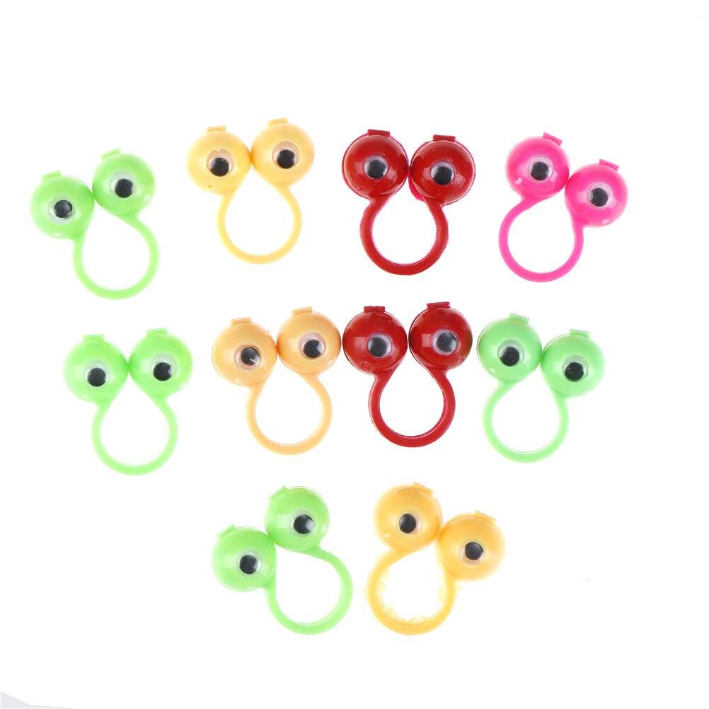 25mm 10 pièces nouveaux yeux doigt marionnettes anneaux en plastique avec des yeux mobiles faveurs de fête pour enfants cadeau jouets Pinata charges anniversaire