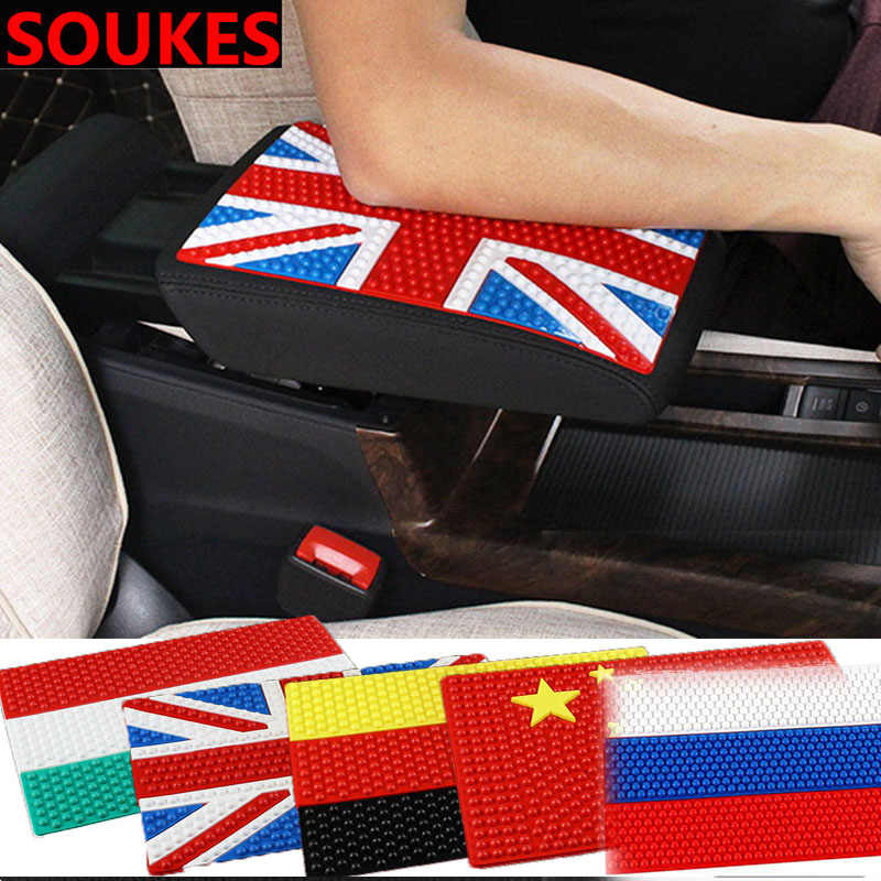 ยาง Flag Non-slip Mat Car Center คอนโซลคอนโซลสำหรับ Renault Megane 2 3 Duster VW Touran Passat b6 Golf 7 T5 T4 Fiat 500