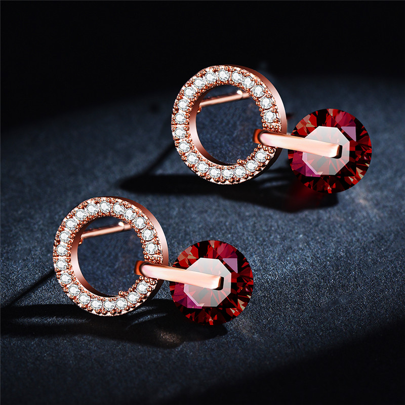 Vintage Female Crystal Round Stud Earrings Red Zircon Stone White Gold Rose Gold Wedding Earrings For Women Valentine Jewelry Cz