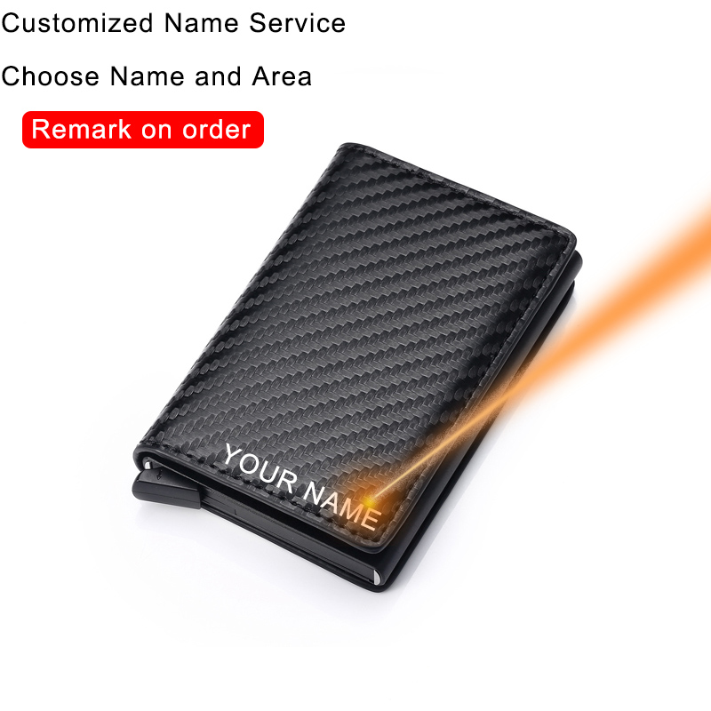 Customize Carbon Fiber Card Holder Wallets Men Rfid Black Magic Trifold Leather Slim Mini Wallet Personalized Small Money Bag