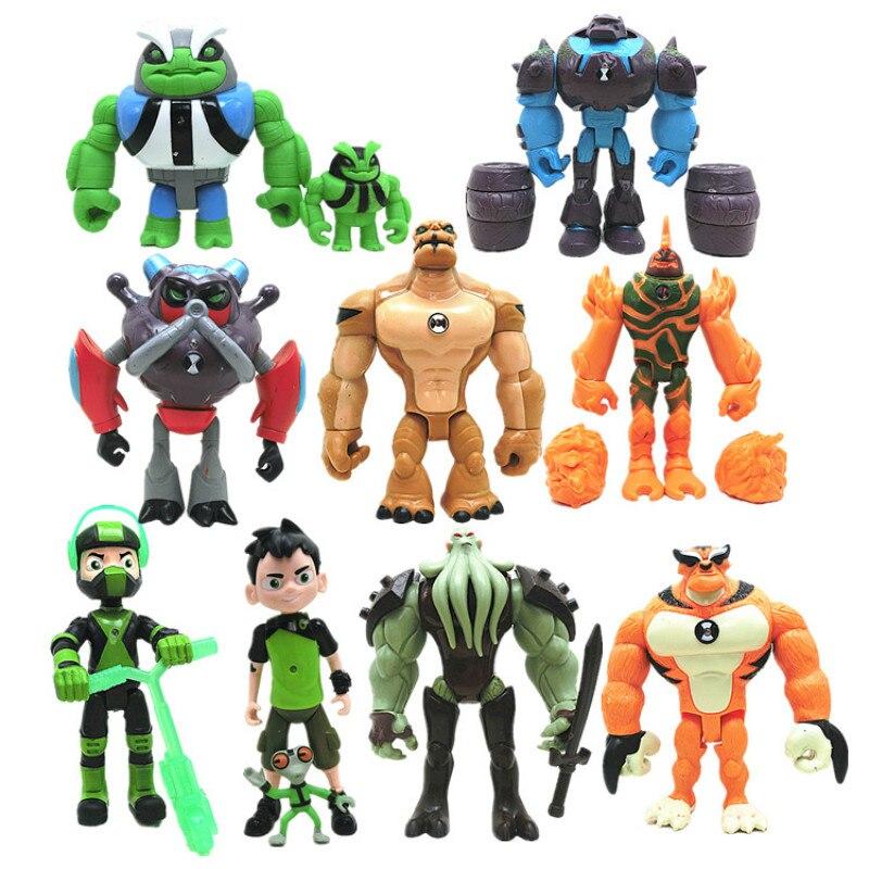 11pcs Ben 10 Omnitrix Birthday Gifts Ben 10 PVC Action Figures Four Arms Grey Matter Kineceleran Heatblast Kids Toys 2Y07