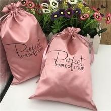 Custom Logo Satin Drawstring Bag Extenssions Clothes Travel storage Drawstring Christmas Bag pink  50PS