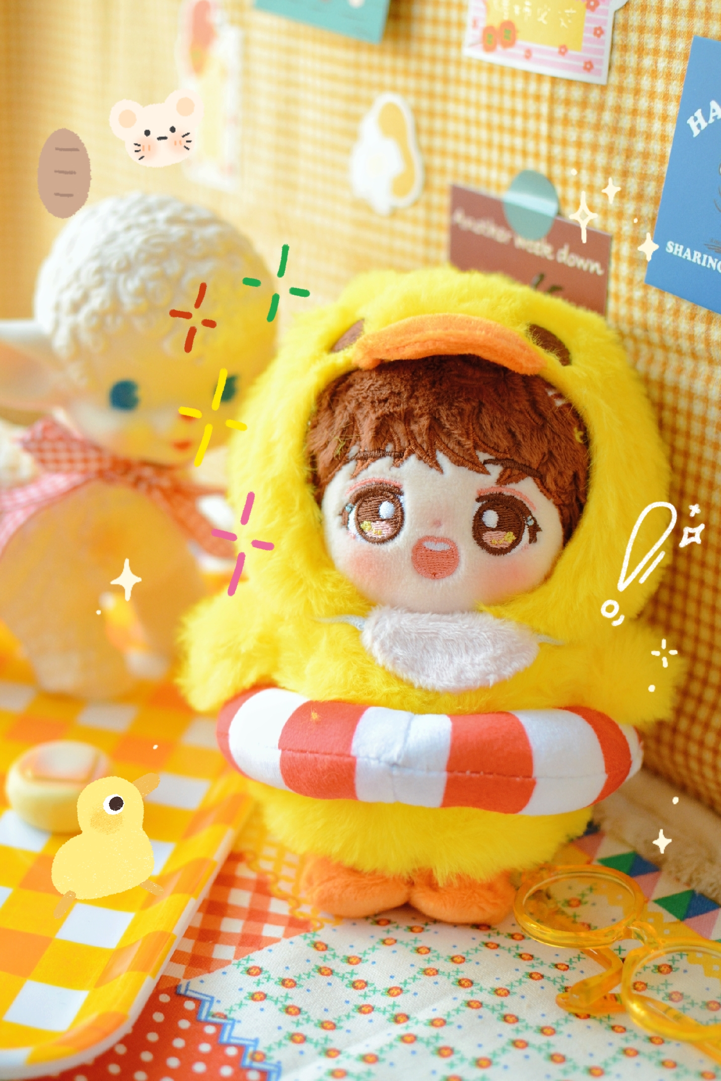 [MYKPOP]Doll's Clothes: Yellow Duck Hooded Pajama / Bodysuit For 15cm Dolls(without Doll) KPOP Fans Collection SA20051901