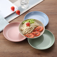 Wheat Straw Plates Solid Color Eco Food Snack Dish Plate Lunch Dinner Dessert Fruit Tray Kitchen Cooking Tableware