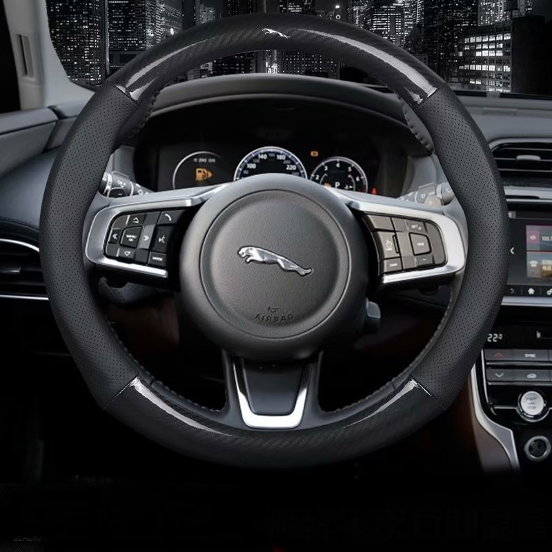 Leather Car Steering wheels Cover 37 38cm  15in Nonslip for Jaguar XE XF XJ  E PACE X Type S Type F PACE I PACE XK F TYPE|Steering Covers|   - title=