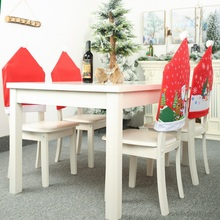 Christmas Chair Cover Dinner Back Covers Table New Year Xmas Gift Dining Santa Claus Snowman Red Cap OrnamentCM