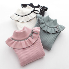 Girls Sweaters Autumn Winter Girls Tops Children Clothing Turtleneck Ruffles Long Sleeve Knit Sweater Kids for 3 4 6 7 8 9 Years