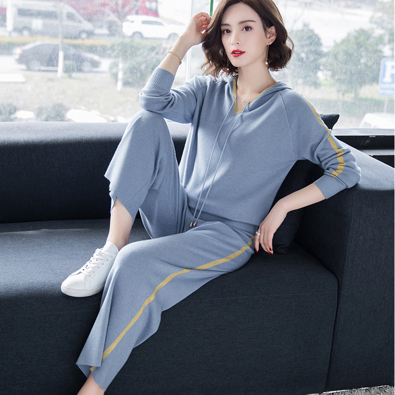 Hoodies Knitted Sweater 2 Piece Set Women Outfits 2019 Winter Autumn Top And Pants Tracksuits Blue Sportswear Fitness Co-ord Set