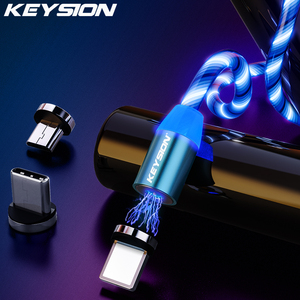 KEYSION-Cable Micro USB tipo C para Samsung y teléfono Xiaomi, Cable de carga magnético para iPhone