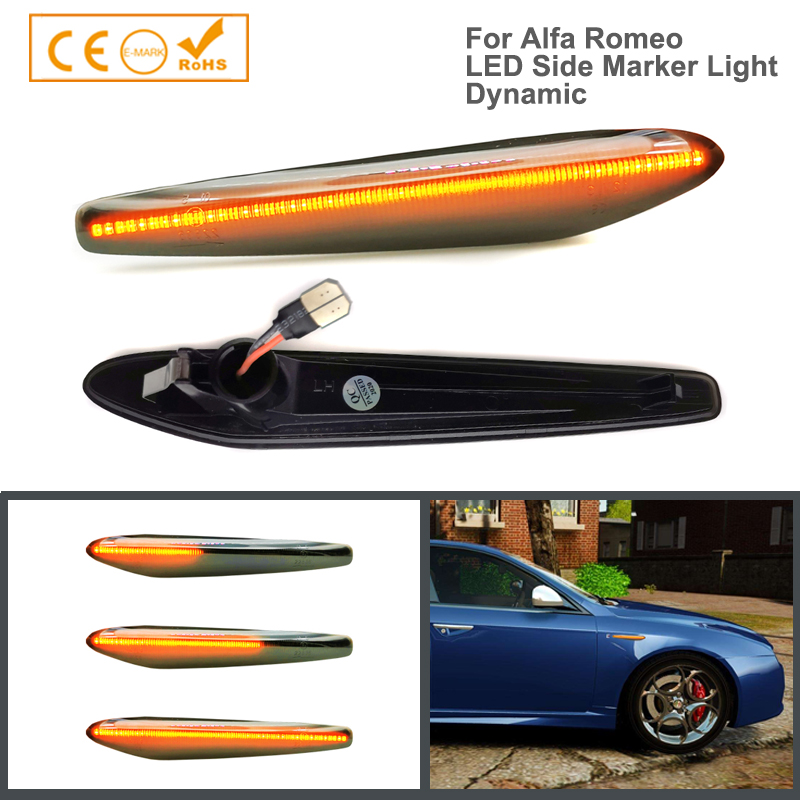 2 pçs livre de erros led dinâmico lado marcador luzes seta sinal de volta blinker lâmpadas para alfa romeo 159 sportwagon boera aranha 939
