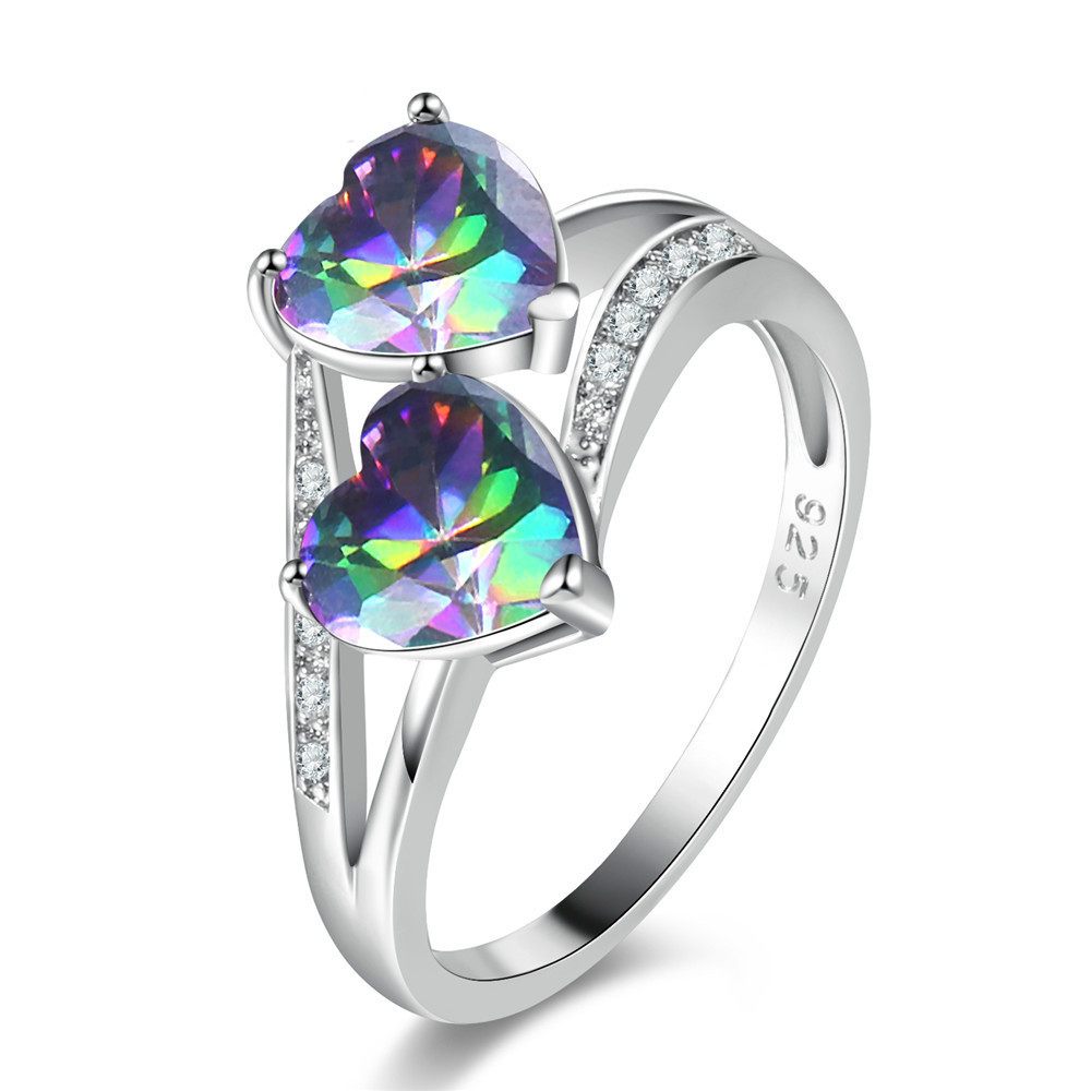 Fashion Women Jewelry Double Heart Dazzling Multicolor CZ Rhinestone 925 Silver Colorful Water Droplets Ring Engagement Jewelry
